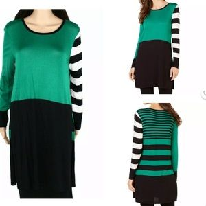 Sz M Colorblock Alfani Women's Sweater Green